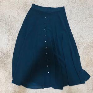 Vintage modern times button up flowy skirt